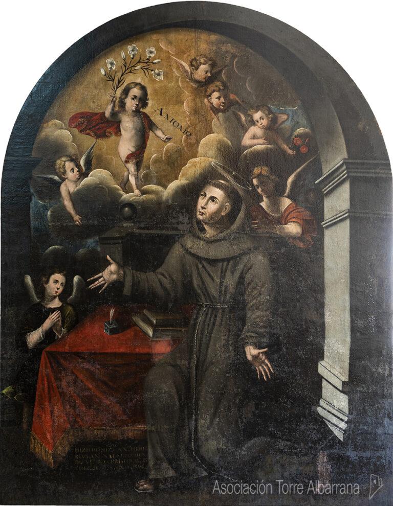 Restauración de una pintura de San Antonio